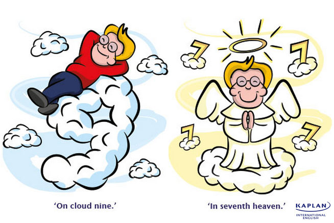 Idioms: On cloud nine and In seventh heaven