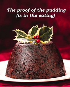 Idioms: The proof of the pudding (is in the eating)
