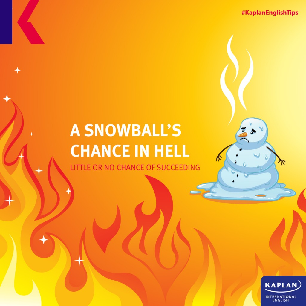 Idioms: A snowball's chance in hell