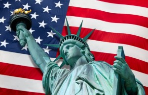 Statue-of-Liberty-with-American-flag
