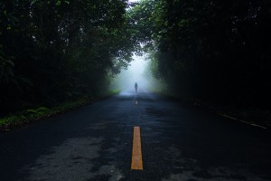 People in mist