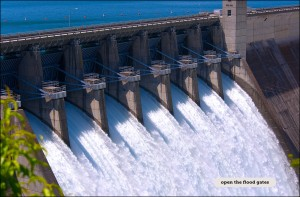 A view of the open floodgates from the scenic lookout at the Beaver Lake Dam. Due to recent heavy rains, the Army Corps of Engineers had to open the floodgates to keep the water from topping the dam.