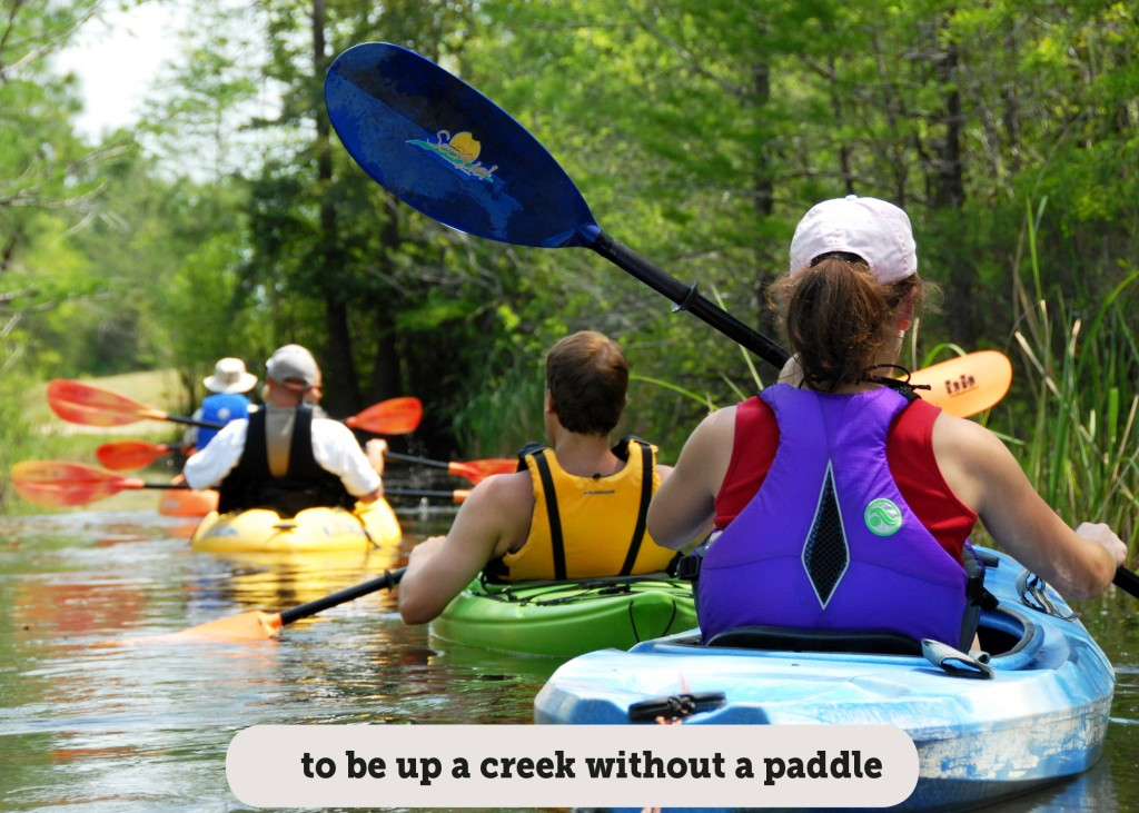 Idioms: To be up a creek without a paddle
