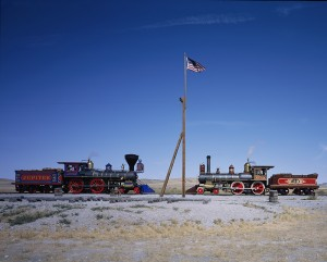 A meeting of the engines at the Golden Spike National Historic Site, where the Union Pacific and Central Pacific Railroads came together in on May 10, 1869.