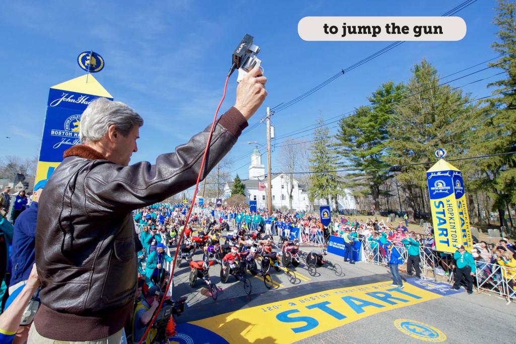 Idioms: To jump the gun