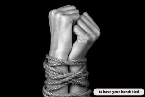 hands tied with a rope