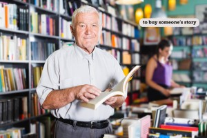 Person 61-67 years old is choosing book for reading in free time