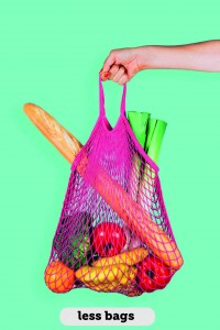 Retro and ecological string shopping bag in woman hand