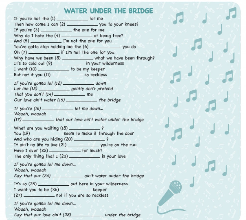 SONG – WATER UNDER THE BRIDGE