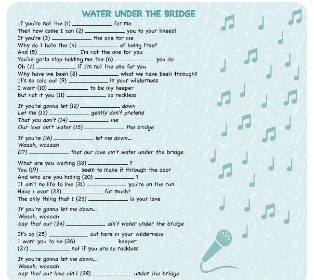 SONG – WATER UNDER THE BRIDGE