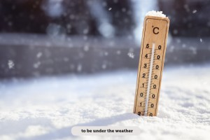 Thermometer in the snow background concept for winter